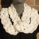 Crochet Infinity Scarf Cowl White Handmade Braided SE1