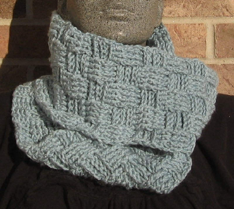 Crochet Infinity Scarf Cowl Sea Blue Handmade Basketweave SD1