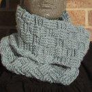 Crochet Infinity Scarf Cowl Sea Blue Handmade Basketweave SD1