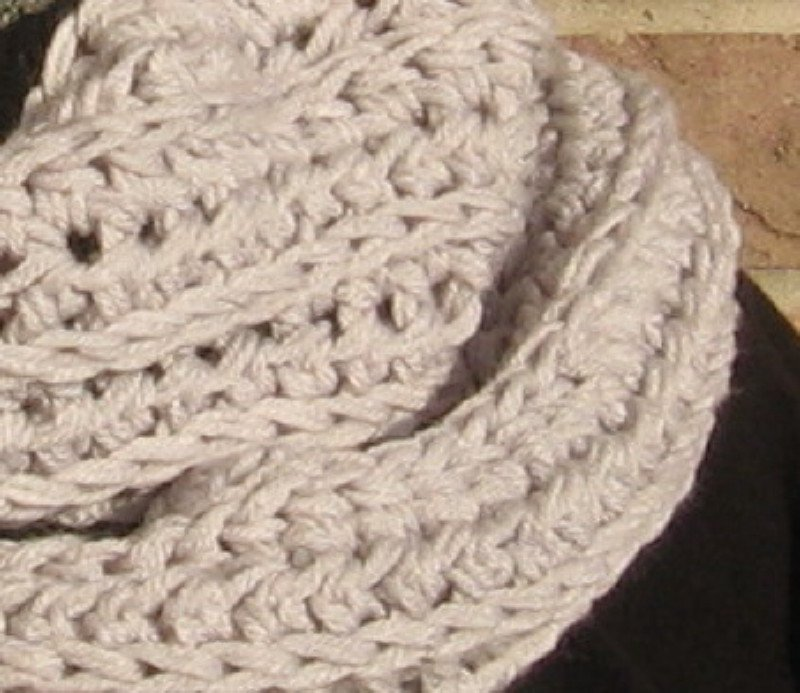 Crochet Infinity Scarf Cowl Light Grey Handmade Double Strand SF1