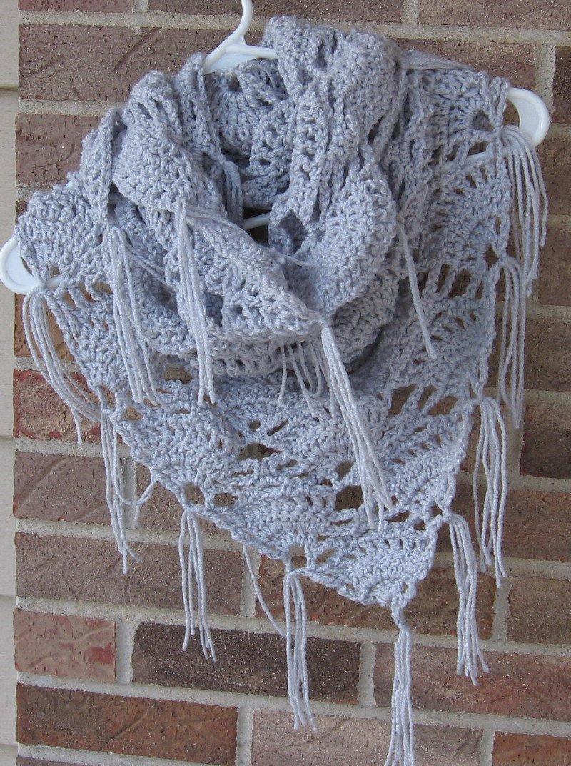 Crochet Infinity Triangle Shawl Cowl Scarf Light Grey SG1 Handmade