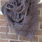 Crochet Infinity Triangle Shawl Cowl Scarf Dark Grey SG2 Handmade