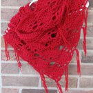 Crochet Infinity Triangle Shawl Cowl Scarf Red SG3 Handmade