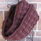 Knit Squares Infinity Scarf Cowl Brown Handmade  SI1