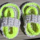 Crochet Baby Sandals Flip Flops Strap Light Gray and Neon Yellow 4 inch.