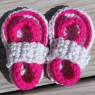 Crochet Baby Sandals Flip Flops Strap Neon Fuschia and Light Gray 4 Inch.
