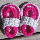 Crochet Baby Sandals Flip Flops Strap Neon Fuschia and Light Gray 4 Inch.