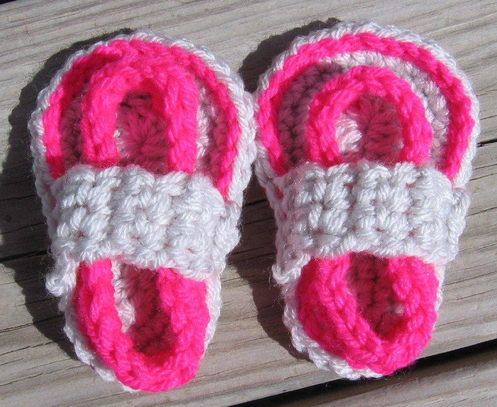 Crochet Baby Sandals Flip Flops Strap Neon Pink and Light Gray 4 Inch.