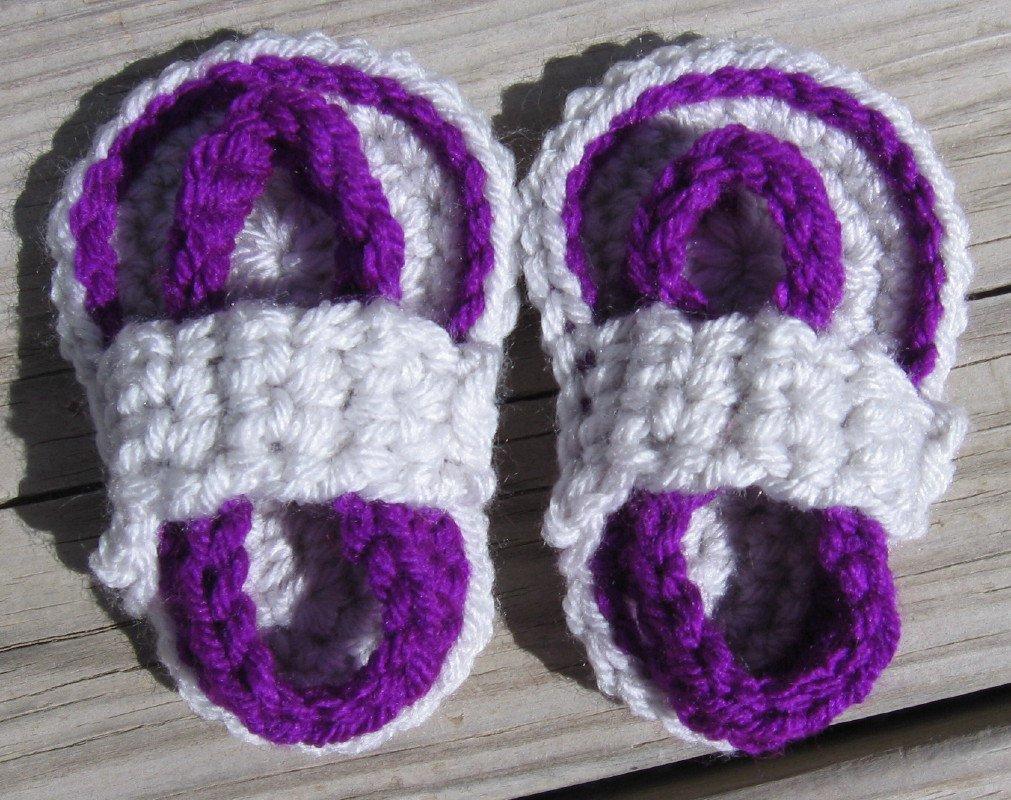 Crochet Baby Sandals Flip Flops Strap Neon Purple and Light Gray 4 Inch.
