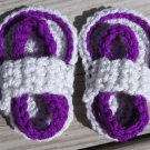 Crochet Baby Sandals Flip Flops Strap Neon Purple and Light Gray 4 Inch.