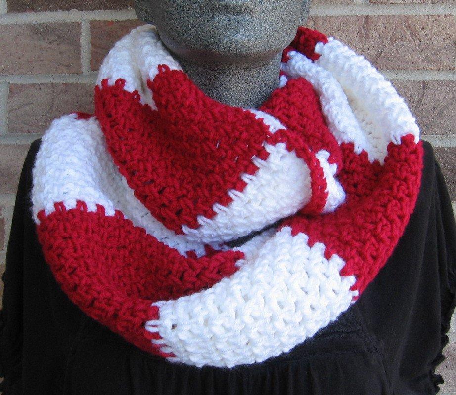 Crochet Infinity Scarf Cowl Rugby Stripe Red White Handmade SL1