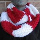 Crochet Infinity Scarf Cowl Rugby Stripe Red White Handmade SL1