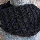 Crochet Infinity Scarf Cowl Black Handmade Camel SJ2