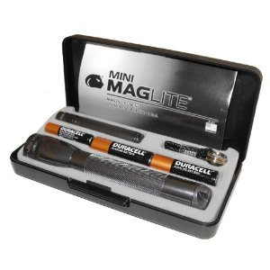 Maglite Flashlights 2 Pack With Batteries & Hard Case Gray Color