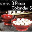 Lorena 3pc Colander Set RED