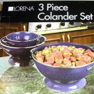 Lorena 3pc Colander Set BLUE