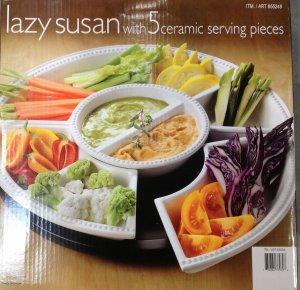 Lazy Susan With Five Ceramic Pieces