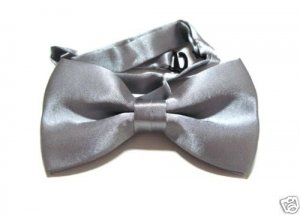 SILK BOWTIE SILVER Men Bow Tie Tuxedo Wedding Party NEW ** Free Shipping
