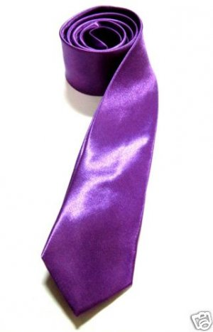 "2"" Skinny Thin Tie PURPLE Vintage Punk X'mas Party NEW ** Free Shipping"
