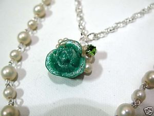 Green Rose Flower Pendant Silver Pearl Double Necklace Wedding ** FREE Shipping