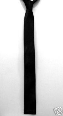 "Black Square End Skinny Thin Tie Mod Vintage Punk 1.5"" ** Free shipping"