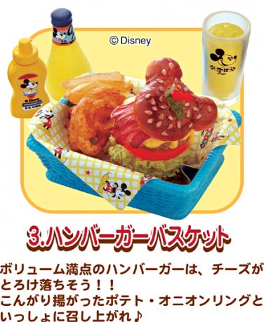 Re-ment Dollhouse Miniature Disney Mickey Cafe Hamburger Basket Orange Juice ** Free Shipping
