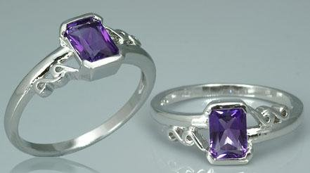 RADIANT CUT AMETHYST RING