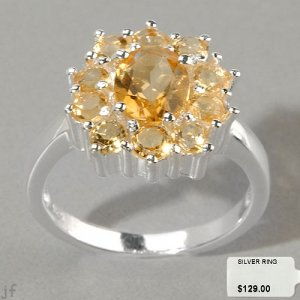 CITRINE FLORAL DESIGN RING