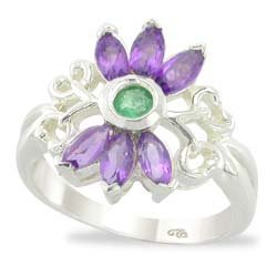 VINTAGE STYLE EMERALD AND AMETHYST RING