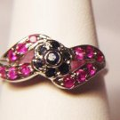 RUBY AND SAPPHIRE FLOWER DESIGN RING