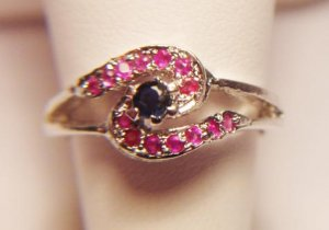 RUBY AND SAPPHIRE WAVE DESIGN RING
