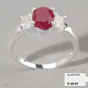 RUBY AND WHITE TOPAZ RING