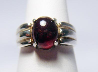 CABOCHON CUT RED TOURMALINE RING