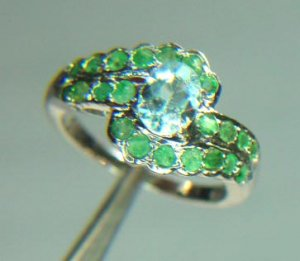 TOPAZ AND EMERALD WAVE DESIGN RING