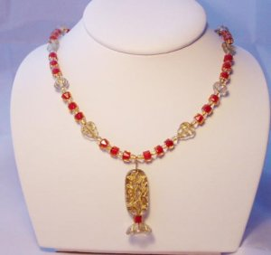 RED AND GOLD BEAD NECKLACE