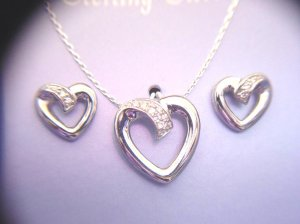 DIAMOND HEART NECKLACE AND EARRING SET