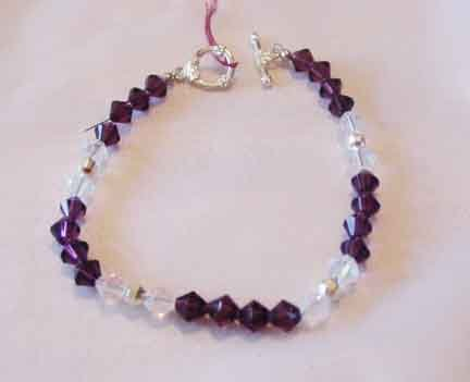 AMETHYST AND WHITE SWAROVSKI CRYSTAL BRACELET