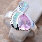 Morganite and White fire opal ring