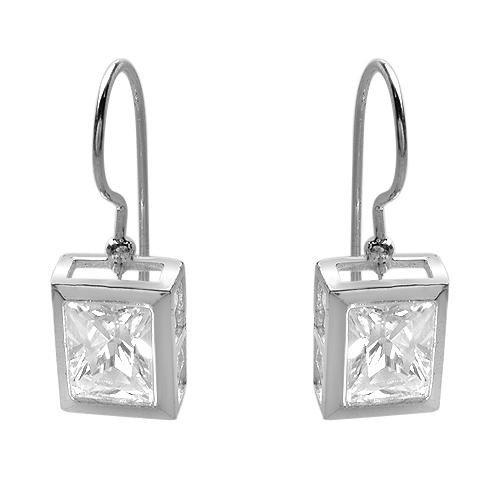 Sterling & CZ Omega Back Earrings