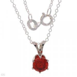 Sterling & Created Garnet Necklace