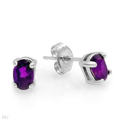 Sterling & Amethyst Stud Earrings