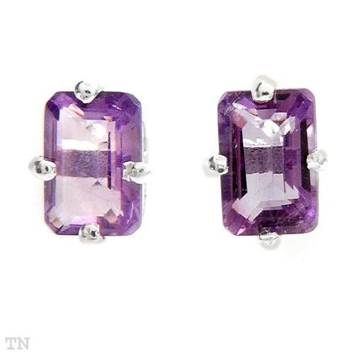Sterling & Amethyst Octagon Earrings