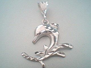 Sterling Silver Fancy Ornate Dolphin Pendant