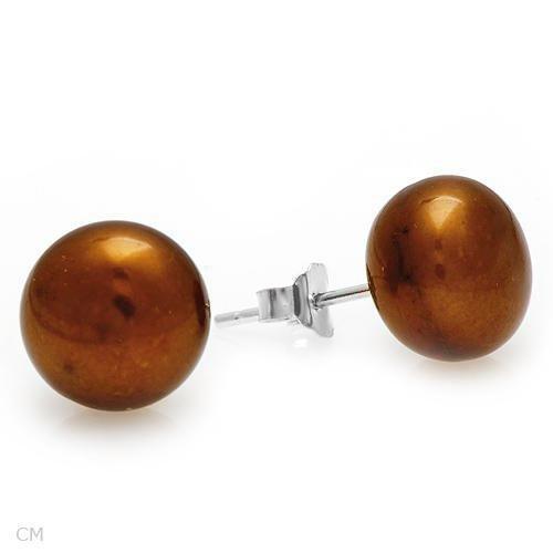 Sterling & Brown Pearl Stud Earrings