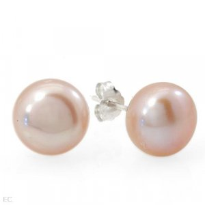 Sterling & Pink Pearl Stud Earrings