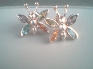 Sterling Silver  Semi Precious Stone Butterfly Earrings