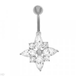 Sterling Silver Snowflake Belly Ring