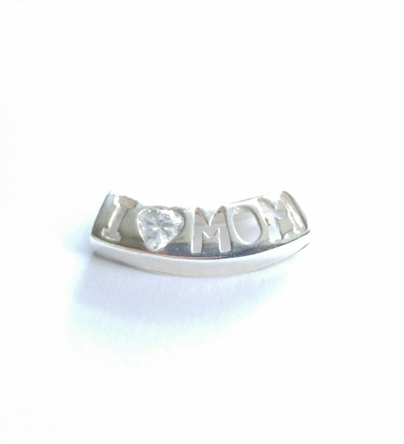 Sterling Silver I Love Mom CZ Slide