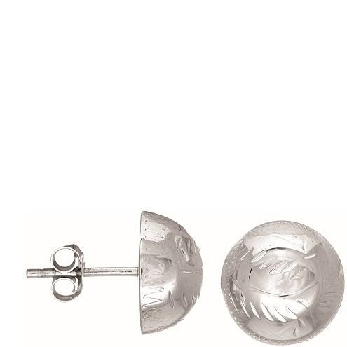 Sterling Silver Etched Button Earrings