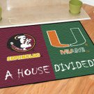 FLORIDA STATE SEMINOLES MIAMI HURRICANES MAT GAME RUG